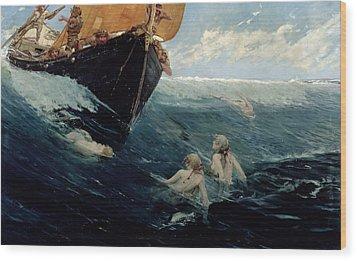 The Mermaid's Rock Wood Print by Edward Matthew Hale
