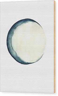 The Moon Watercolor Poster Wood Print by Joanna Szmerdt