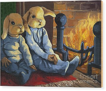 The Mopsy Twins  Wood Print by Linda Apple