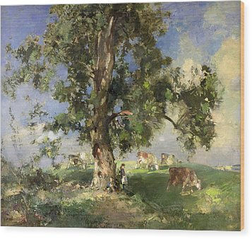 The Old Ash Tree Wood Print by Edward Arthur Walton