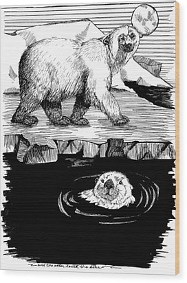 The Otter Loved The Bear Wood Print by Laura Brightwood