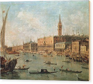 The Palace And The Molo From The Basin Of San Marco Wood Print by Francesco Guardi