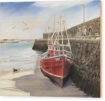 The Pier At Spiddal Galway Ireland Wood Print by Irish Art