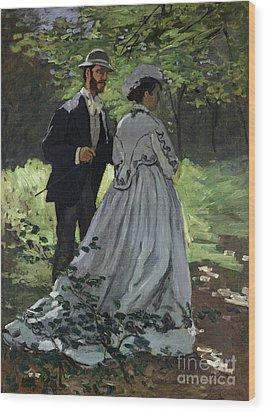The Promenaders Wood Print by Claude Monet