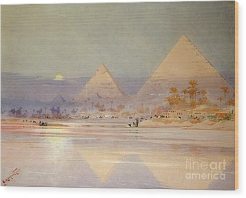 The Pyramids At Dusk Wood Print by Augustus Osborne Lamplough