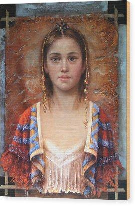 The Quiet Girl Wood Print by Loretta Fasan