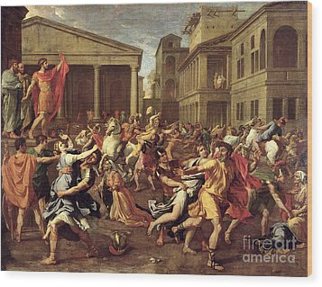 The Rape Of The Sabines Wood Print by Nicolas Poussin