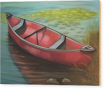 The Red Canoe Wood Print by Marcia  Hero