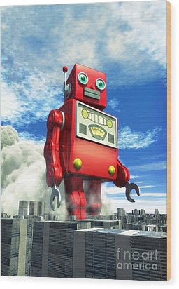 The Red Tin Robot And The City Wood Print by Luca Oleastri