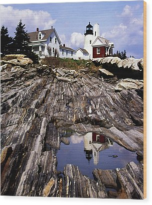 The Reflection At Pemaquid Wood Print by Skip Willits