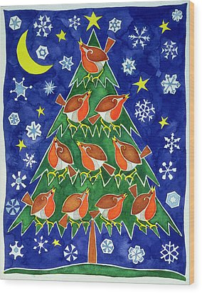 The Robins Chorus Wood Print by Cathy Baxter