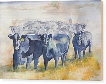 The Round Up Cattle Drive  Wood Print by Sharon Mick
