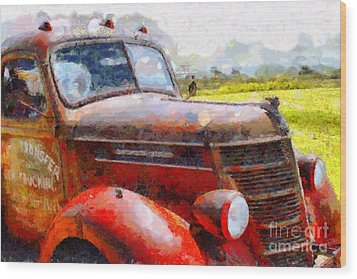 The Rusty Old Jalopy . 7d15509 Wood Print by Wingsdomain Art and Photography