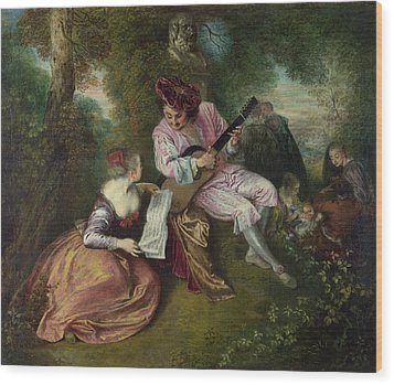 The Scale Of Love Wood Print by Jean-Antoine Watteau