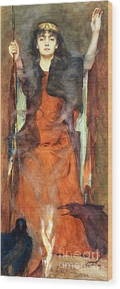 The Sorceress Wood Print by Henry Meynell Rheam