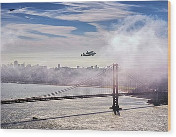 The Space Shuttle Endeavour Over Golden Gate Bridge 2012 Wood Print by David Yu