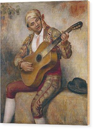 The Spanish Guitarist Wood Print by Pierre Auguste Renoir