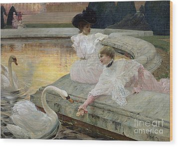 The Swans Wood Print by Joseph Marius Avy