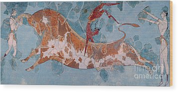 The Toreador Fresco, Knossos Palace, Crete Wood Print by Greek School