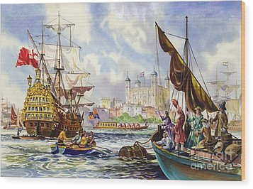 The Tower Of London In The Late 17th Century  Wood Print by English School