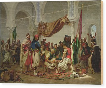 The Turkish Cafe Wood Print by Charles Marie Lhuillier