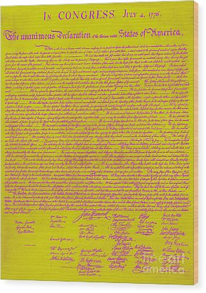 The United States Declaration Of Independence 20130215m68 Wood Print by Wingsdomain Art and Photography