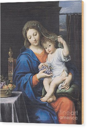 The Virgin Of The Grapes Wood Print by Pierre Mignard