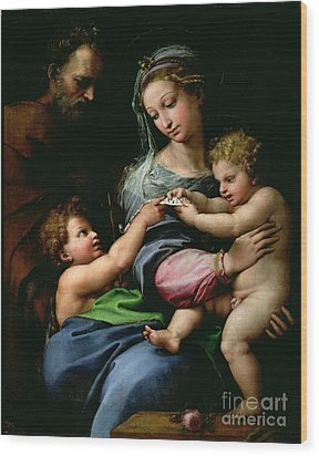 The Virgin Of The Rose Wood Print by Raphael