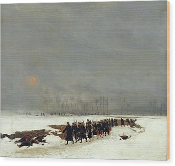 The War Of 1870 An Infantry Column On Their Way To A Raid Wood Print by Jean-Baptiste Edouard Detaille