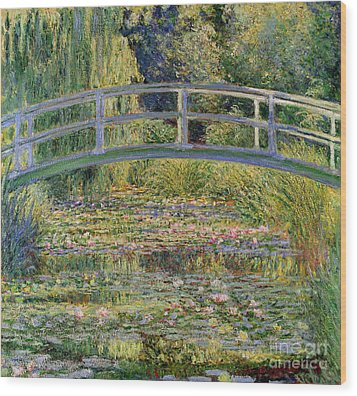 The Waterlily Pond With The Japanese Bridge Wood Print by Claude Monet