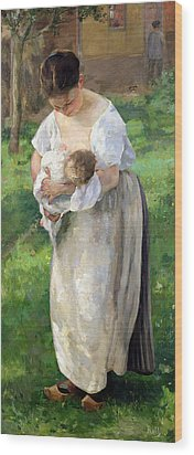 The Wet Nurse Wood Print by Alfred Roll