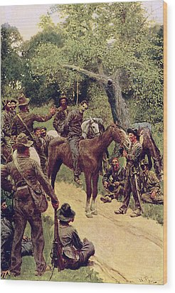 They Talked It Over With Me Sitting On The Horse Wood Print by Howard Pyle