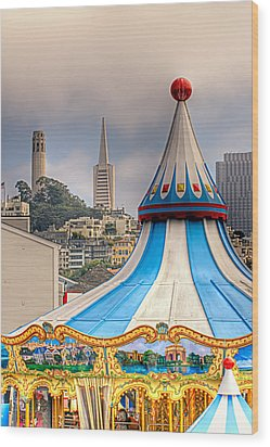 This Is San Francisco 1 Four Towers Wood Print by Paul W Sharpe Aka Wizard of Wonders