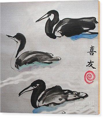 Three Ducks Wood Print by Lisa Baack