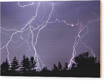 Three Frames Of Lightning Hitting Cedar Hills Area Wood Print by Utah-based Photographer Ryan Houston