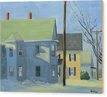 Three Houses Auburn Wood Print by Laurie Breton
