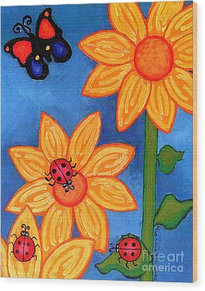 Three Ladybugs And Butterfly Wood Print by Genevieve Esson