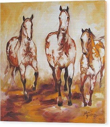 Three Pinto Indian Ponies Wood Print by Marcia Baldwin