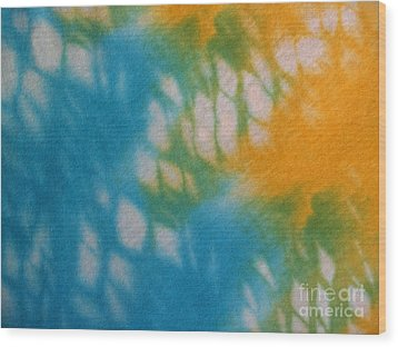 Tie Dye In Yellow Aqua And Green Wood Print by Anna Lisa Yoder