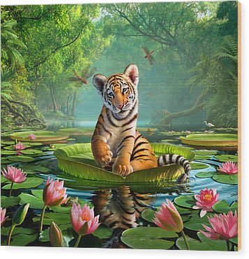 Tiger Lily Wood Print by Jerry LoFaro