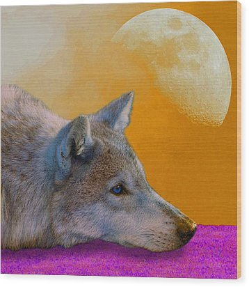 Timber Wolf Under The Moon Wood Print by Tina B Hamilton