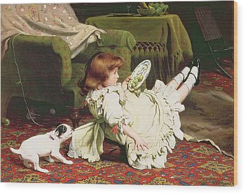 Time To Play Wood Print by Charles Burton Barber