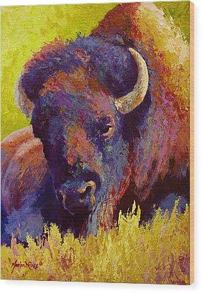 Timeless Spirit - Bison Wood Print by Marion Rose