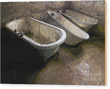 Tired Tubs 3 Wood Print by Norman  Andrus