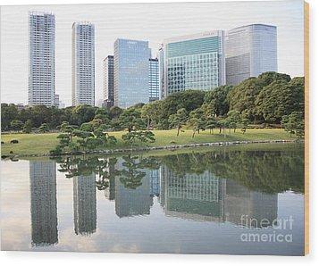 Tokyo Skyline Reflection Wood Print by Carol Groenen