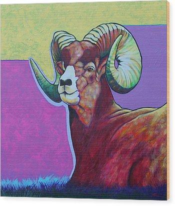 Top Heavy Big Horn Wood Print by Joe  Triano