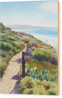 Torrey Pines Guy Fleming Trail Wood Print by Mary Helmreich