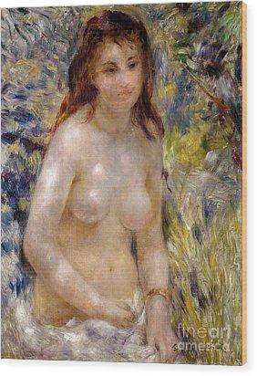 Torso Effect Of Sunlight Wood Print by Pierre Auguste Renoir