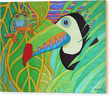 Toucan And Red Eyed Tree Frog Wood Print by Nick Gustafson