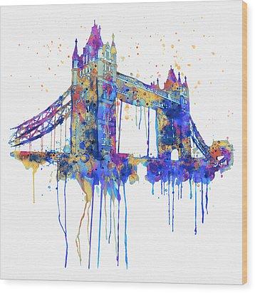 Tower Bridge Watercolor Wood Print by Marian Voicu